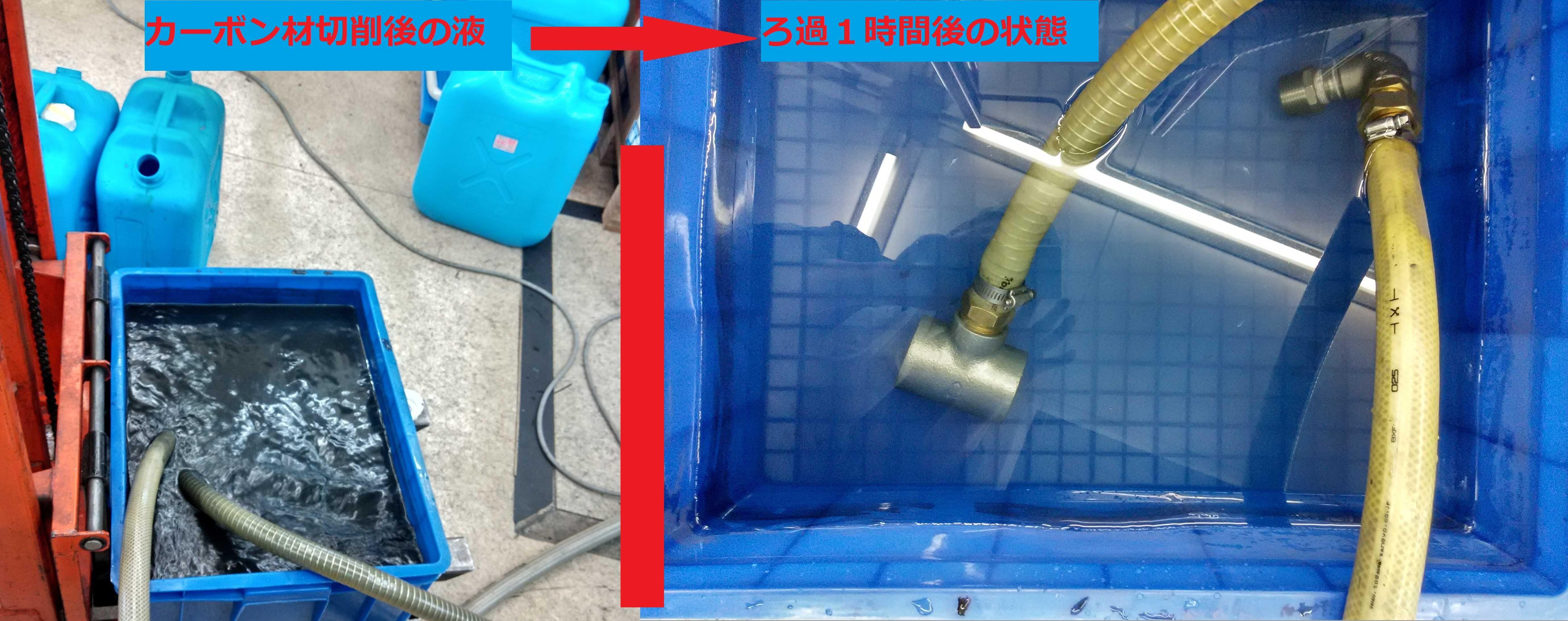 カーボン切削の真空ろ過装置テスト